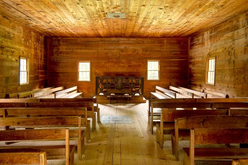 Interior of Primitive Baptist Church in Cades Cove
