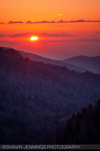 Sunset from Morton's Overlook in the Great Smoky Mountains.