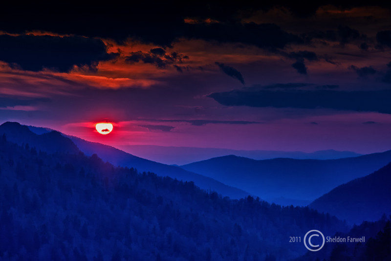 Sunset in the Smokies - Great Smoky Mountains National Park - Sheldon Farwell - April 2010