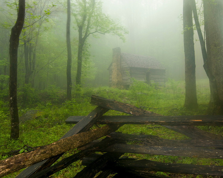 Cabin in the Mist - Great Smoky Mountains National Park - John Remy - April 2012