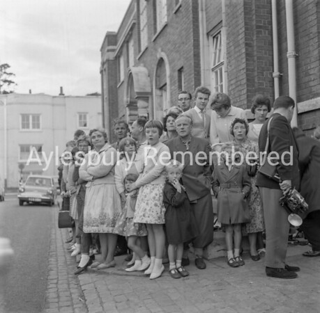 Onlookers at Aylesbury Police Station, Aug 17th 1963