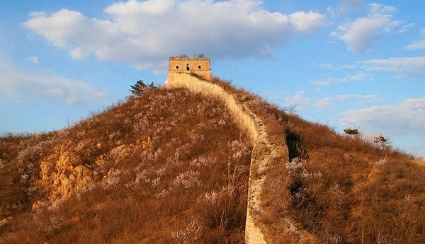 Spring mountain great wall hiking and camping in Beijing
