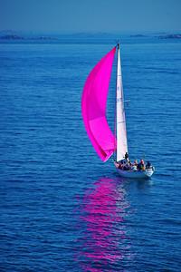 Pink sailboat - Guernsey - Channel Islands