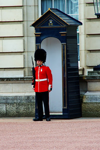 The Queen's Guard on duty  Buckingham Palace, London, England
