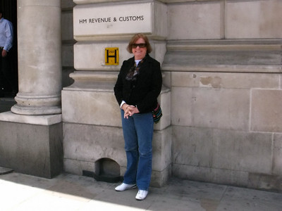 MA in front of the tax collector's building, where else? London, England