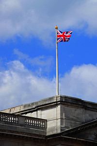 The flag flies, the Queen in home  London, England