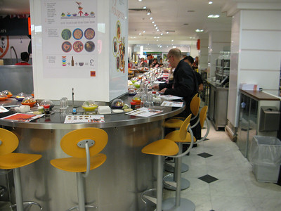 Eat.com where food is on a conveyor belt  London, England