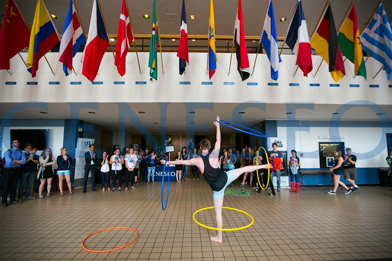 Ben Spaid '17 performs a Hula Hoop routine in the College Union.