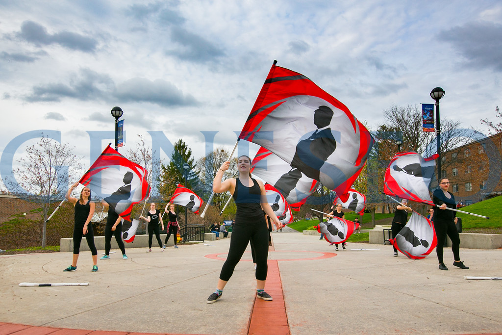 Geneseo's Sapphire Winterguard performs outside the Union.