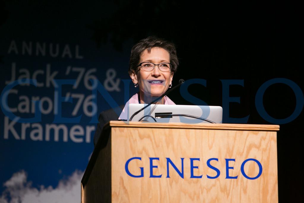President Denise Battles introduces the GREAT Day keynote speaker, Dr. Erich Jarvis