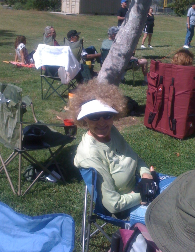 Nancy enjoying the picnic in the park.