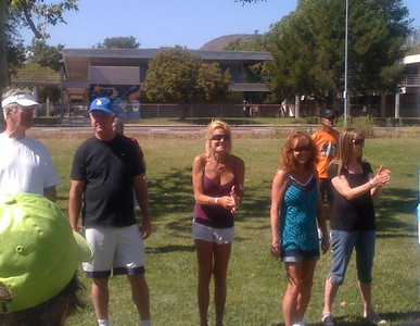 And now, the Egg Toss.   Bella (green cap), Kelley, Greg, Lynn, Julianne, Bob, Diana are ready.