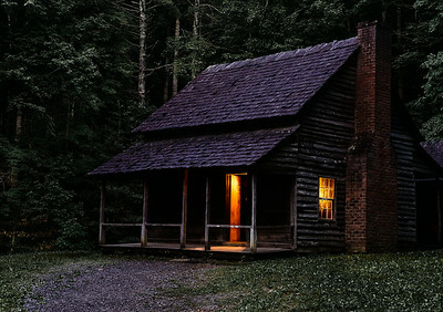 The Albert Whitehead cabin at sunset.