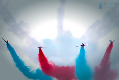 The Red Arrows RAF aerobatic flying display team displaying at Great Yarmouth free airshow