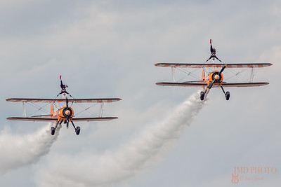 Biplanes of The Flying Circus AeroSuperBatics aerobatic wingwalker display team at the first Great Yarmouth Airshow.