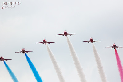 Red Arrows RAF flying display team flying in V formation at Great Yarmouth free airshow 2018