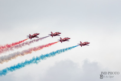 Hawk jets from the RAF Red Arrows aerobatic display team flying in formation at the Great Yarmouth free air show.