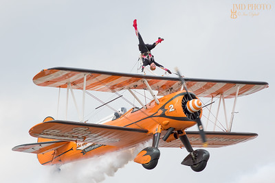 Biplane of Aerosuperbatics aerobatic wingwalker display team at Great Yarmouth Airshow June 2018