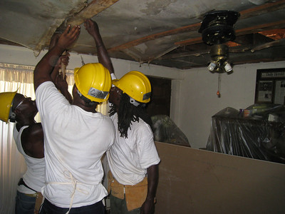 removing damp and moldy ceiling material  lcf