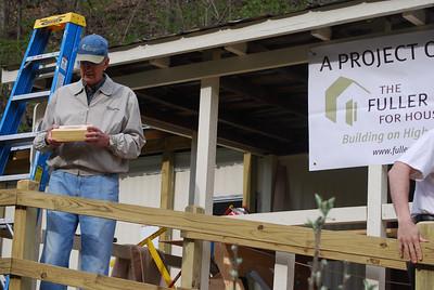 2008 April - Pendleton Co., WV - Millard Fuller explains Greater Blessing Box concept at dedication of Juanita Bennett's home. sv