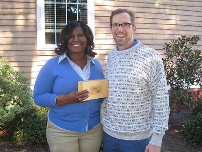 2010 12-02 Kirk Lyman-Barner presents Greater Blessing Box to Julia Tyner. ri