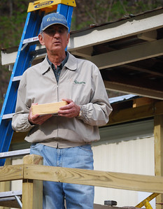 2008 April - Pendleton Co., WV - Millard Fuller explains Greater Blessing Box concept at dedication of Juanita Bennett's home. Renovation construction by Seth Kujat & approximately 20 volunteers. sv