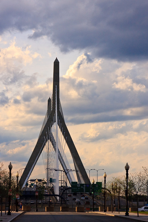 The Zakim Bridge in Boston on a cloudy evening.