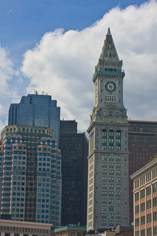 Custom House Tower in McKinley Square, downtown Boston, and other skyscrapers.