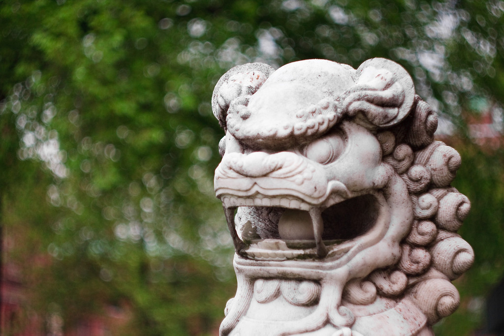 A stone dragon statue at Harvard University.