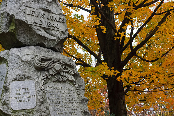 A monument marking a family grave plot in Mount Auburn Cemetery.