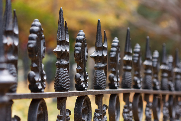 A decorative fence in Mount Auburn Cemetery