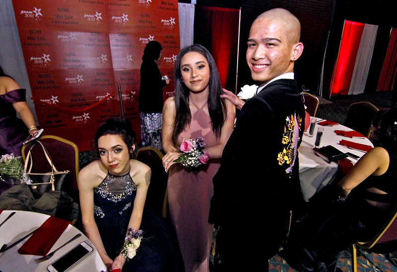 Friends all decked out for the Greater Lowell Tech Prom, L-R, Nicole Arsenio 18, Salem NH, her friend  and GLT student Adrianna Rivera 17 of Lowell and Brian Duong 17 of Lowell also GLT student. SUN/David H. Brow