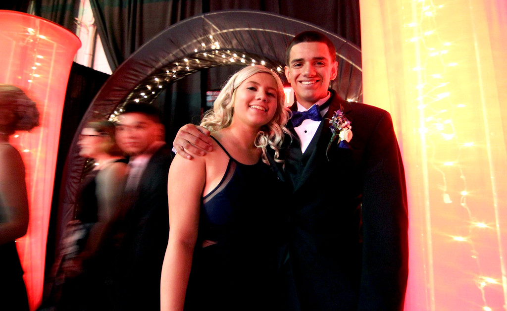 . Here arriving for the Greater Lowell Tech Prom are students L-R, Kiley Denault 17 and Alec Bowe 18, both from Lowell. SUN/David H. Brow