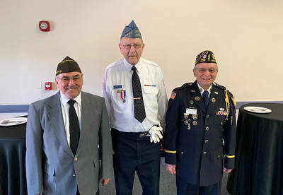 Veterans, from left, Dick Ducharme (Vietnam) and Roland Provencher (Korea), both of Dracut, and Joe Zangri of Billerica (Vietnam)