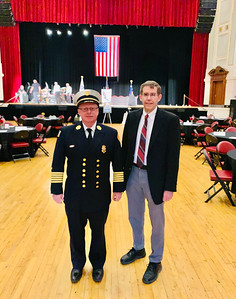 Fire Chief Jeff Windward and Richard Howe Jr., both of Lowell