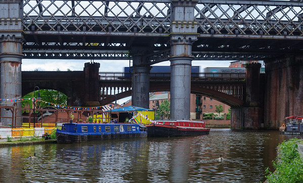 Freight train over Castlefield Basin