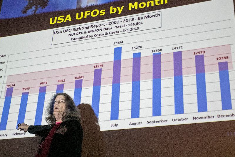The 2019 Greater New England UFO Conference was held at Leomisnter City Hall on Friday and Saturday, Oct. 4 and 5. Speaker Cheryl Costa gave UFO statistics and forensics during her talk early Saturday. SENTINEL & ENTERPRISE/JOHN LOVE