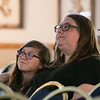 The 2019 Greater New England UFO Conference was held at Leomisnter City Hall on Friday and Saturday, Oct. 4 and 5. Listening to the speakers at the conference is Kristen Cormier and her daughter Annette Cormier, 13, from Leominster. SENTINEL & ENTERPRISE/JOHN LOVE