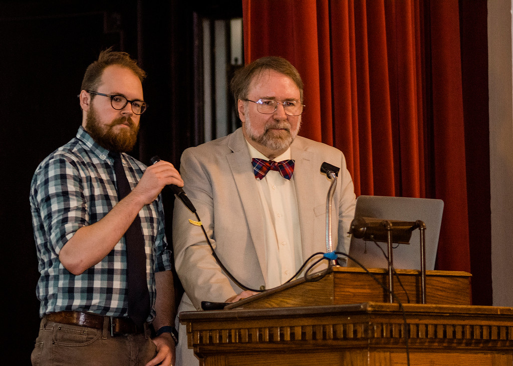 . Paul and Ben Eno, world famous father and son paranormal researchers, speak during the Greater New England UFO Conference in Leominster on Saturday, October 7, 2017. SENTINEL & ENTERPRISE / Ashley Green