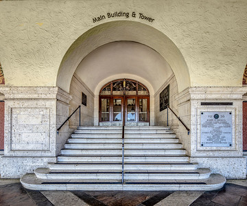 The Tower building  entrance at the University of Texas