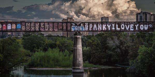 Railroad Bridge at twilight in Austin, TX
