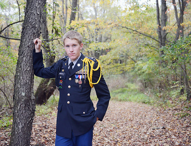Young American Tristan Brosious, of Northumberland, poses in his Shikellamy JROTC uniform.