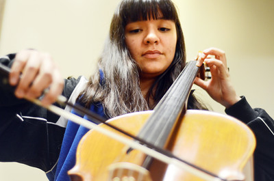 Clara Grandy, a student at Northumberland Christian School, plays the cello at the school.