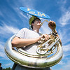 Caleb Snyder, 15 of Dalmatia, plays the sousaphone during Line Mountain's band camp.