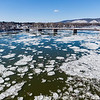 Drone Photo by Robert Inglis/The Daily Item  Ice flows on the Susquehanna River toward the Danville/Riverside bridge on Thursday morning.