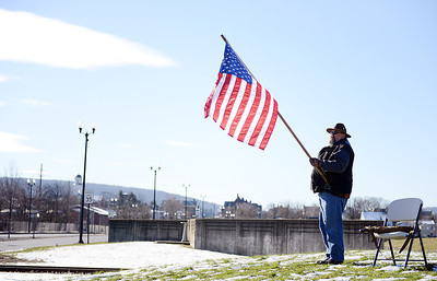 "Ron Mabus, of Mifflinburg, stands at the intersection of Routes 11 & 54 during the ""Gun Appreciation Day"" rally on Saturday morning."