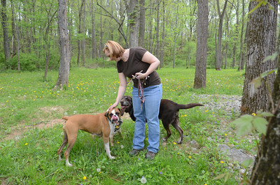 Carolyn Garisto, Lewisburg, pets her three dogs, Molly, Capote, and Cooper, on the trails at the dog park in Winfield.