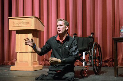 Bryan Anderson talks about his life experiences after being injured in Iraq and coming back to the United States at Susquehanna University on Tuesday evening.