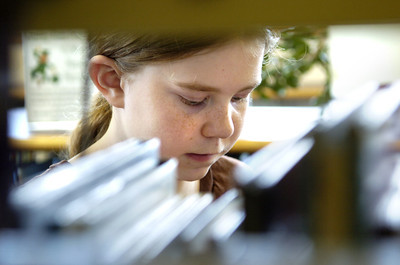 Heidi Hecker, 10, Lewisburg, looks at some books Tuesday afternoon at the Union County Library.