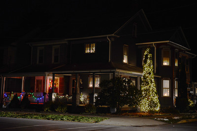 A holiday decorated house on the corner of Packer Street and Susquehanna Avenue in Sunbury.